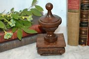 Antique French Carved Wood Corbel Finial Newel Post On Mounted Corinthian Base