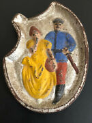 Vintage Cast Iron Risque Woman And Man Ashtray Change Plate Double Sided 1950s