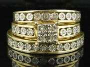 Yellow Gold Over His And Her Trio Wedding Ring Sets Bridal Band 2.40 Ct Diamond
