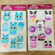 Justice Squishy Puffy Bunny And Panda Scented Large Stickers