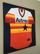 Nolan Ryan Framed Autographed Astros Rainbow Jersey Excellent Condition