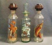 Set Of 7 - Vintage Cabin Still And Old Fitzgerald Whiskey Decanters - 1960s