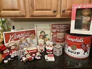 Lot Of Campbell's Soup Kids Kitchen Collectibles/bank/cans/signs