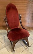 Antique Victorian Lady Ladies Child Small Rocking Chair Upholstery Carved