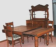 Antique 19th Century Oak Dining Room Suite Set Extension Table Buffet 4 Chairs