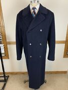Canali For Barneys 80 Wool 20 Cashgora Navy Blue Double Breasted Coat Sz 42l