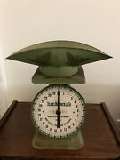 Vintage Green Sear Roebuck And Co. 1906 Model Kitchen Farm Scale With Scope 25 Lb