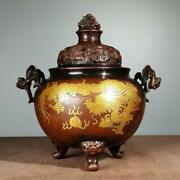 Old Chinese Copper Incense Burner With Marked K1565