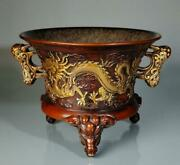 Old Chinese Copper Incense Burner Xuande Wu Bangzuo Marked K1556
