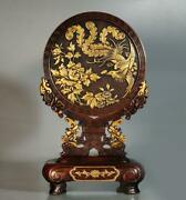Old Chinese Copper Gilding Screen Statue Xuande Marked K1536