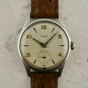 C.1960 Vintage Piaget Oversize Calatrava Military Watch In Stainless Steel