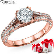 Mothers Day Gift Diamond Ring 1.70 Ct D Si2 14k Rose Gold 51184054