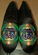 Rare New Versace Leather Silk Shoes Slippers Loafer Beverly Palm Miami Italy
