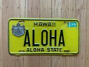 Vintage 1970's Hawaii License Plate Authentic Aloha Plate And Very Rare