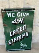 Vintage Original Sandh Green Stamps Porcelain Double Sided Sign Save As You Spend