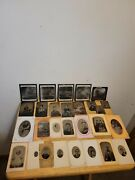 Antique Tin Type Photo's Lot Of 24 + 5 Glass Negatives