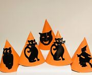 Vintage Halloween Decorated Cardboard Paper Cone Party Hats W/ Chin Strap