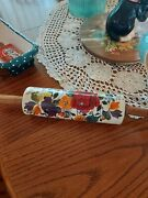 The Pioneer Woman Harvest Fall Flower Ceramic Rolling Pin W/ Acacia Handles