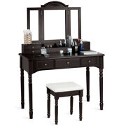 Vanity Set W/7 Drawers Tri-folding Necklace Hooked Mirror Dressing Table Brown