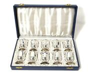 Silver Set Of Ten Wine Glass Cups In A Box. Sweden, Stockholm, Year 1954.