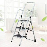 Iron Ladder Stool Folding Non Slip Safety Tread Industrial Home Use 150lbs Load