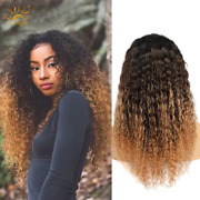 Ombre Curly Human Hair Wigs Remy Human Hair Wigs 1b/4/27 Highlight Sunlight Hair