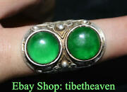 1.6 Old China Silver Inlay Green Jade 2 Gem Dynasty Jewellery Finger Ring