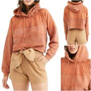 Free People Woman's Piper Pullover Cropped Hoodie Mango New With Tags Small