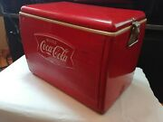 Vtg 70s W Chrome Handle Tin Metal Coca Cola Cooler W Plastic Tray Inside French