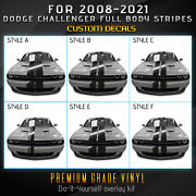 For 2008+ Dodge Challenger Full Body Rally Stripes Graphic Decal - Gloss Vinyl