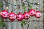 Vintage 40s-50s Stenciled Pink Mercury Glass Balls Christmas Ornaments