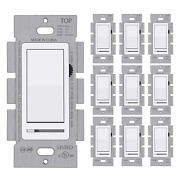 [10 Pack] Bestten Dimmer Wall Light Switch Single Pole Or 3-way Compatible Wit
