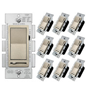 [10 Pack] Bestten Champagne Gold Dimmer Light Switch Single Pole Or 3-way Comp
