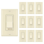 [10 Pack] Bestten Almond Dimmer Light Switch 3 Way Or Single Pole For Dimmable
