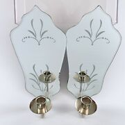 Vintage Venetian Style Etched Mirror Candle Wall Sconce Set Hollywood Regency
