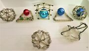 Antique Ball Glass Beaded Christmas Ornaments Lot Hand Wired As Is Shabby Chic And