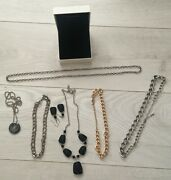 Bundle Of 7 Items Of Costume Jewellery Chains Necklaces Ear Rings And Bracelets