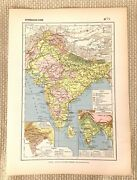 1888 Antique Map Of India Hindustan Indian Continent Calcutta Bombay Madras Old