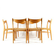 6 Retro Vintage Danish Arne Wahl Iversen Oak And Paper Cord Dining Chairs 60s 70s