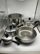 Vintage Revere Ware Copper Bottom Cookware 8 Piece Set W/some Lids Made In Usa