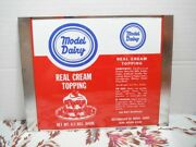 Vtg Model Dairy Real Cream Topping Metal Can Flat Whipped Cream Advertising 60s