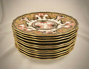 11 Royal Crown Derby Luncheon Plates Heavily Gilded