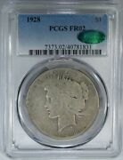 1928 1 Pcgs / Cac Fr02 Peace Dollar Amazing Key Date Lowball Coin
