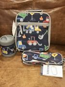 New Pottery Barn Kids Navy Play Construction Lunch Box Thermos Pencil Case