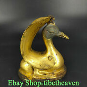 4.8andldquo Old Chinese Bronze 24k Gold Dynasty Palace Quack-quack Duck Zun Sculpture