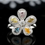 Mix Color Pear Round 14k Solid Gold Ring Engagement Wedding Ring Kd886