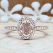 Pink Oval Diamond 14k Solid Gold Ring Engagement Wedding Gift Ring Kdl7493