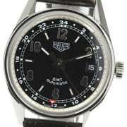 Auth Tag Heuer Watch Classic Carrera Gmt Ws2113 Black Ss Leather Date Case35mm