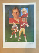 Joe Montana Autographed L/e Lithograph By Christopher Paluso. Psa. 18 X 24in.