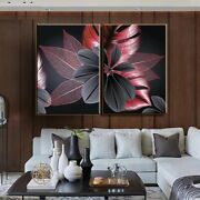 Abstract Canvas Printings Black Red Flower Plant Leaf Modern Wall Art Home Decor
